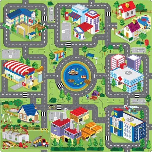 Nagyváros puzzle játszószőnyeg 92 x 92 cm