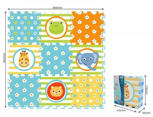 Állatos puzzle játszószőnyeg 89 x 89 cm