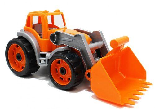 Színes műanyag traktor, 38 cm