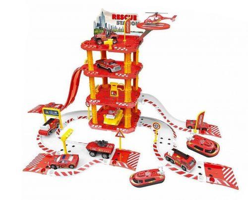 Six-Six-Zero tűzoltó parkolóház helikopter leszállóval, kisautókkal