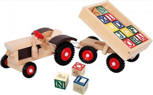 Bino traktor billencs pótkocsival és ABC kockákkal fajáték