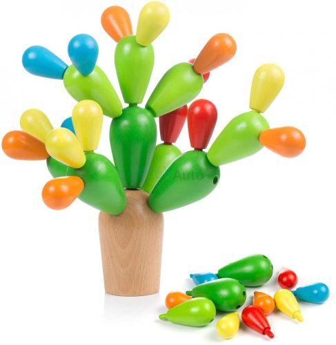 Egyensúlyozó kaktusz Montessori logikai játék fából