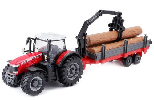 Bburago 1:50 Massey Ferguson 8740S traktor rönkszállítóval 18-31659