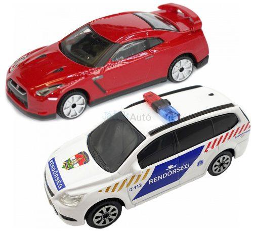 Bburago 1:43 szirénázó/villogó Ford Focus rendőrautó + Nissan GT-R sportautó 18-31063