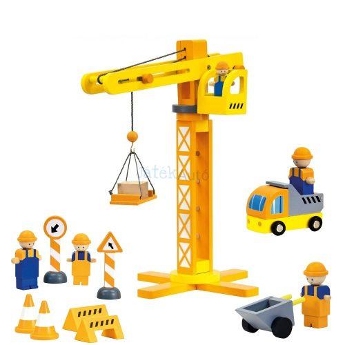 Bino Simon építkezési toronydaru kiegészítőkkel fajáték