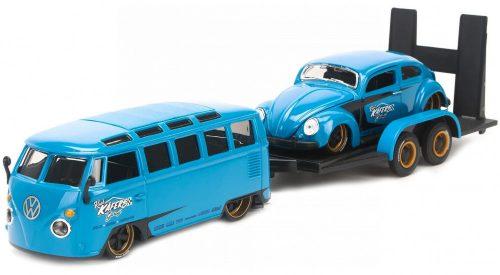 Maisto 1:24 Volkswagen T1 Samba custom (1962) + Volkswagen Beetle Kafer Maggiolino (1955) + utánfutó 32752