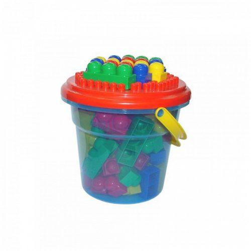 Junior Maxi építőjáték vödörben, 57 darabos készlet