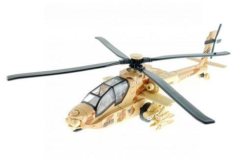Apache hátrahúzós fém katonai helikopter fénnyel és hanggal - 23 cm