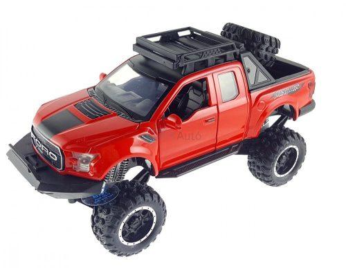 Raptor fém terepjáró - piros, fénnyel és hanggal