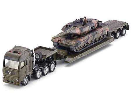 Siku 1:87 MAN harckocsi szállító katonai kamion + Leopard tank - 1872