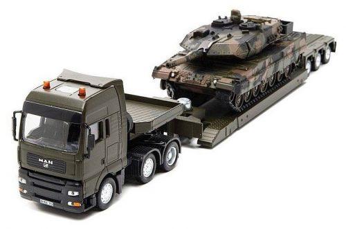 Siku 1:50 MAN harckocsi szállító katonai kamion + Leopard tank - 8612
