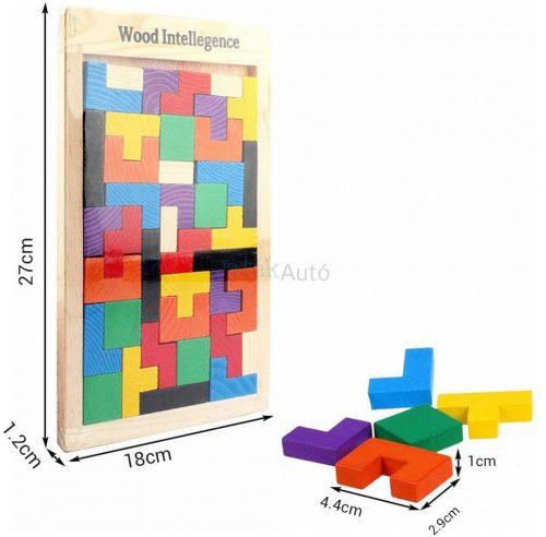Tetris logikai játék fából, 18 x 27 cm